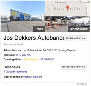 Jos dekkers autobanden op google