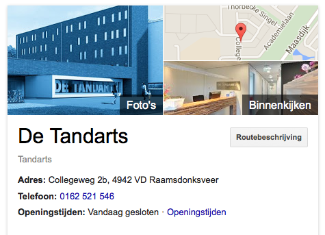 de tandarts google maps business view